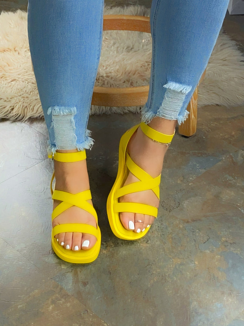 Tiffany Cris-Cross  Sandals - Yellow