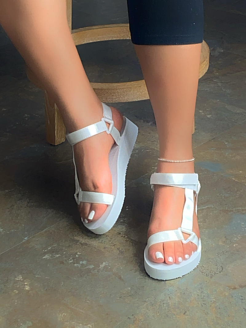 Emmy Velcro Platform Sandals- White