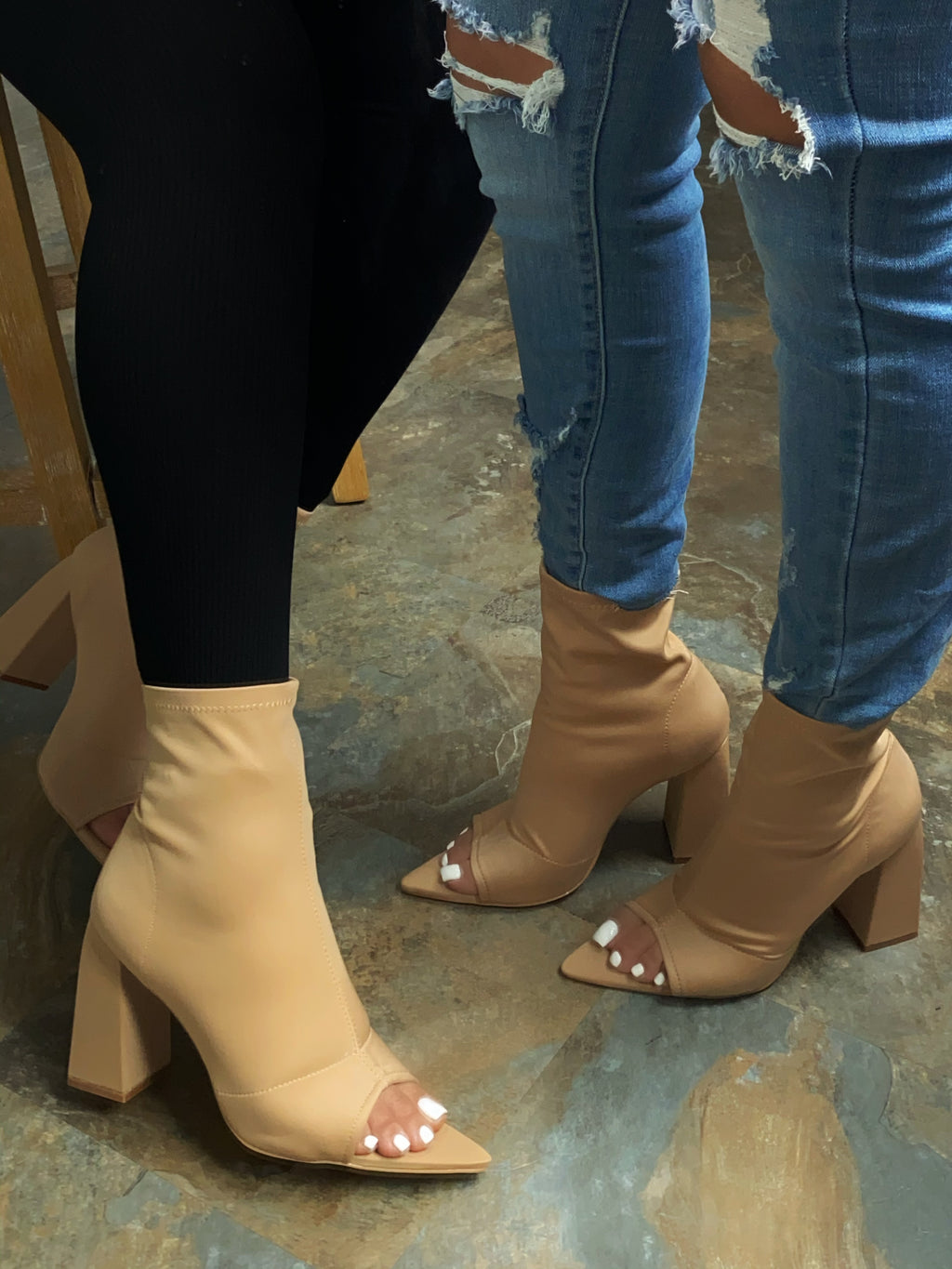 Wesley Open Toe Booties-Nude