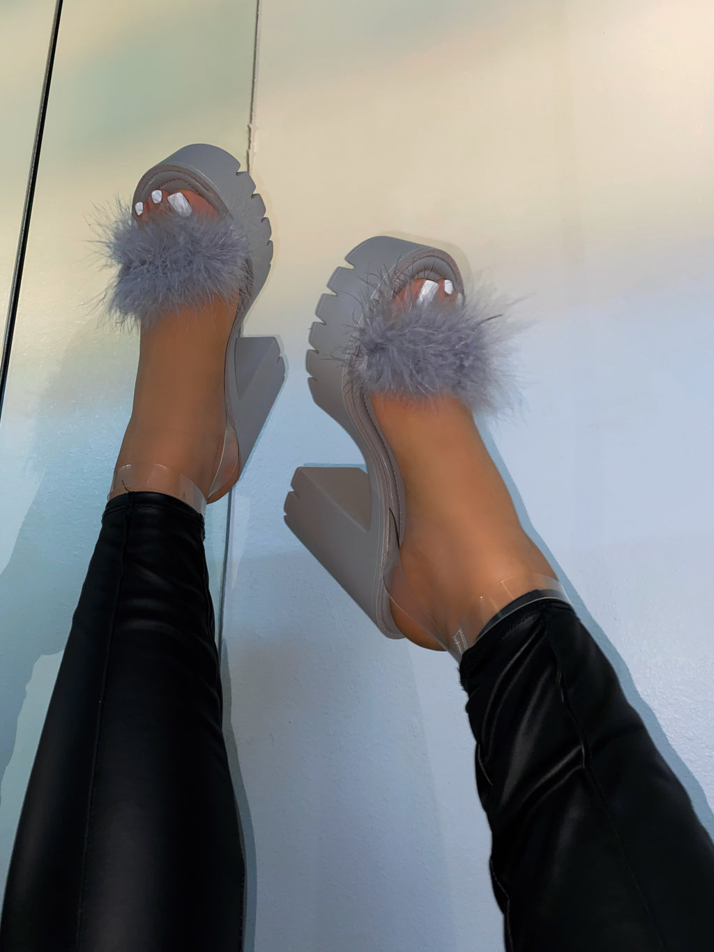 Piper Fur Platform Heels - Grey