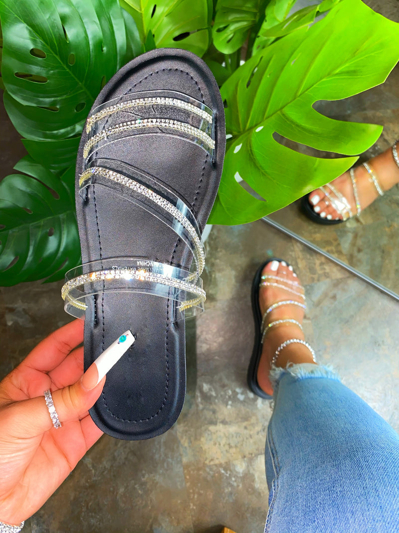 Avalon Sandals- Black clear