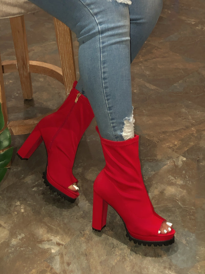 Kinsely SISTER  Open Toe Platform Booties - Red