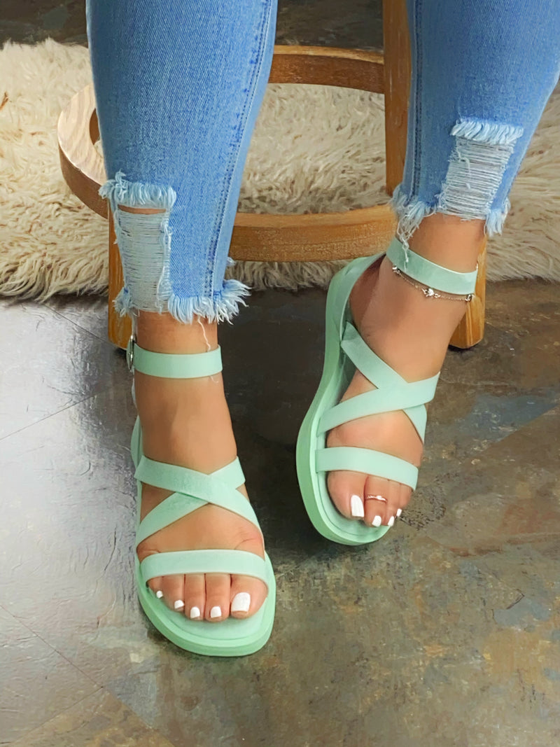 Tiffany Cris-Cross  Sandals - Pistachio