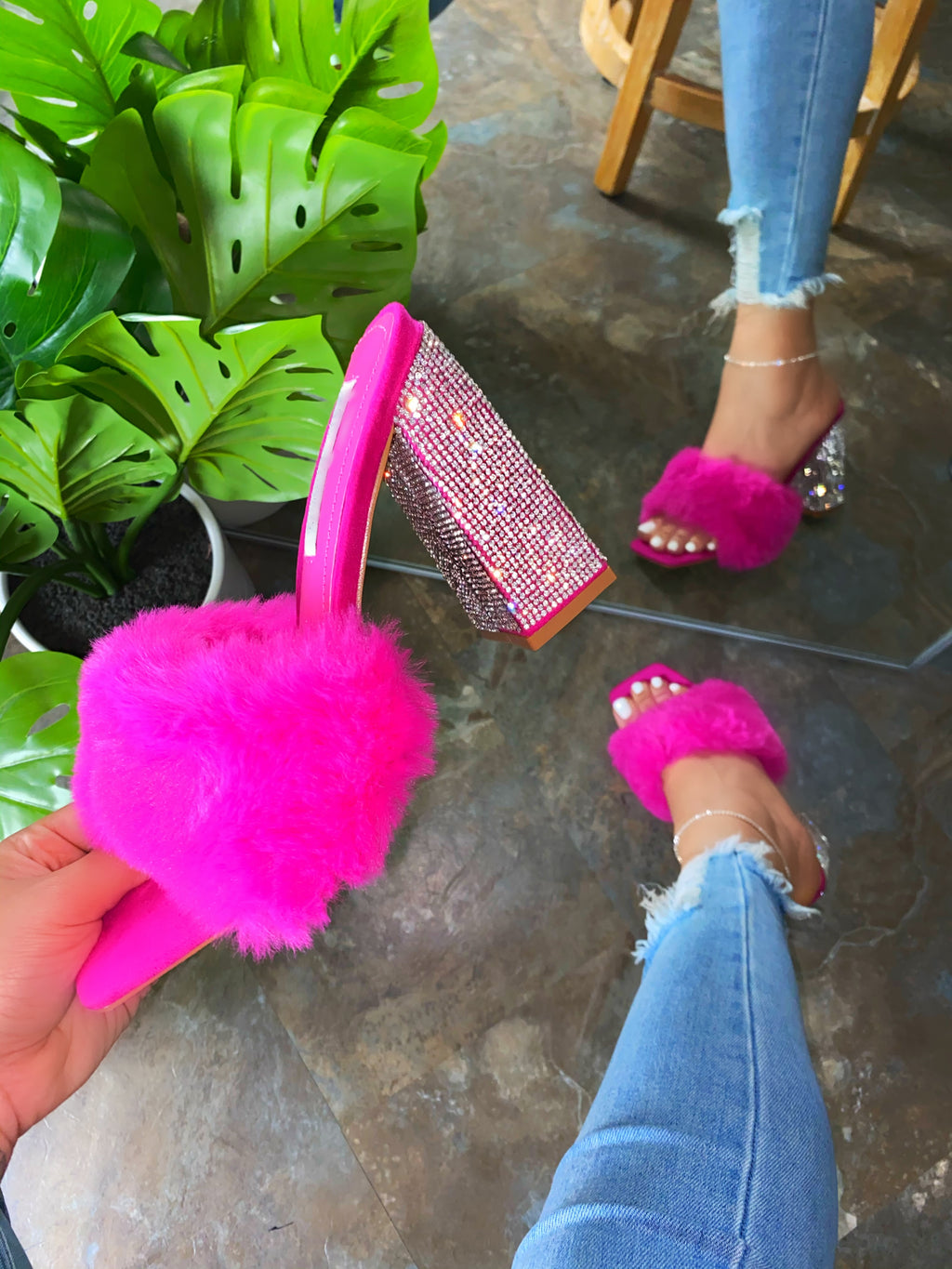 Joyce Fur Heels - Hot Pink