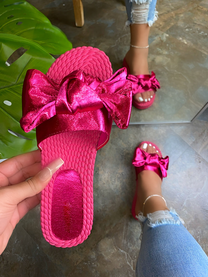 Neff Satin Bow Sandals - Fuchsia