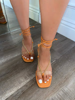 Henley Lace Up Sandals-Coral