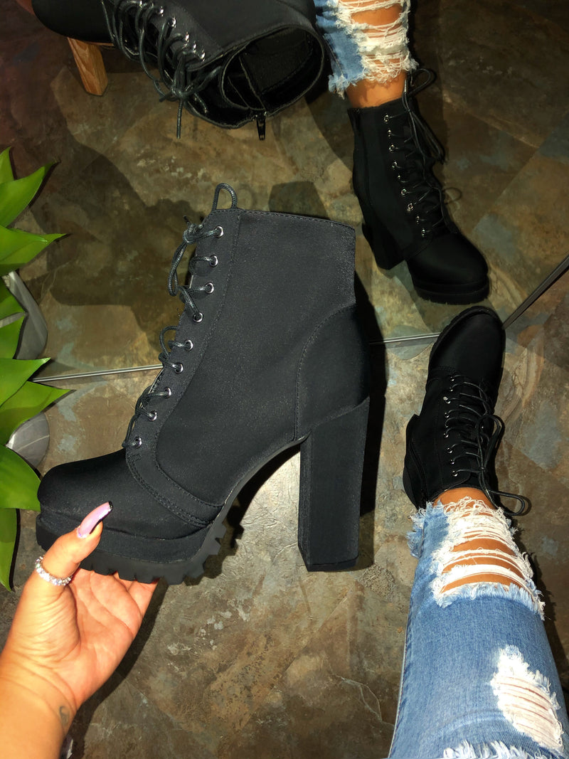 Rose Lace-up Booties - Black