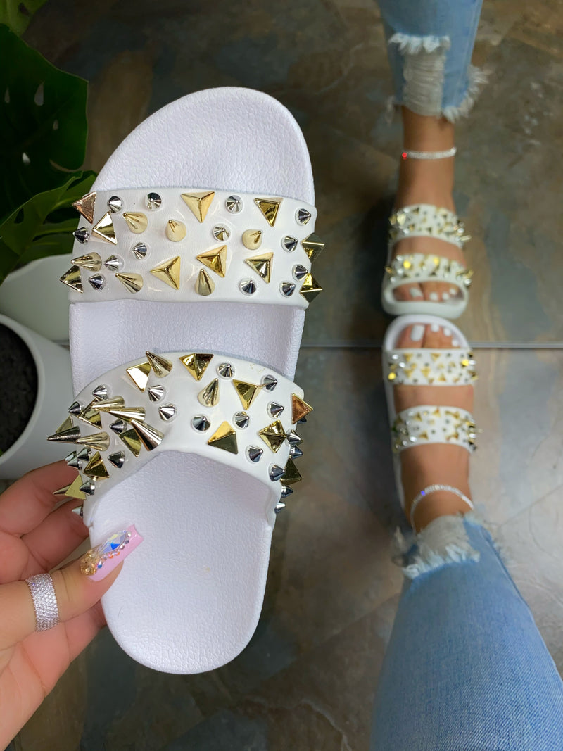 Kali Studded Sandals- White