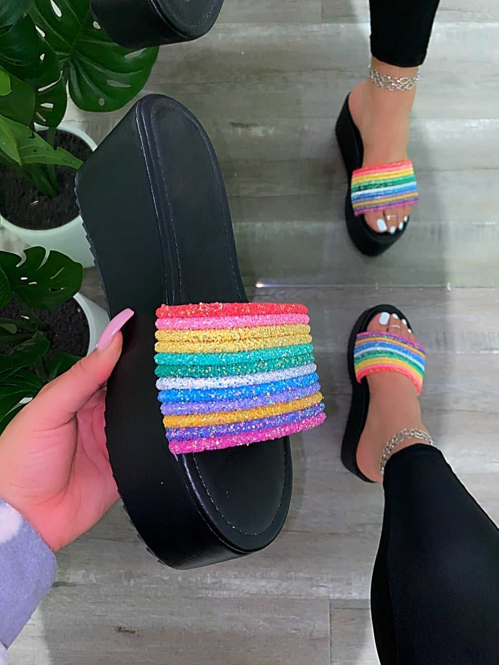 Dream Platform Sandals -Black Rainbow