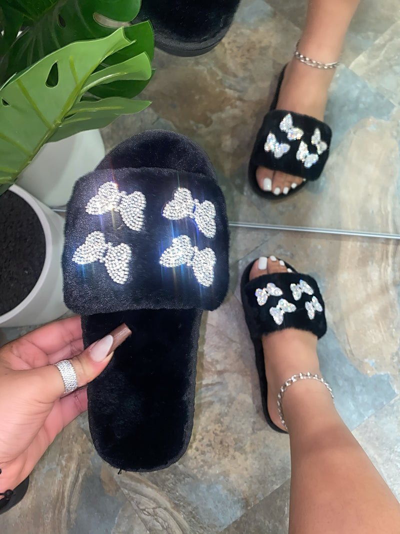 Bella Butterfly Slipper - Black