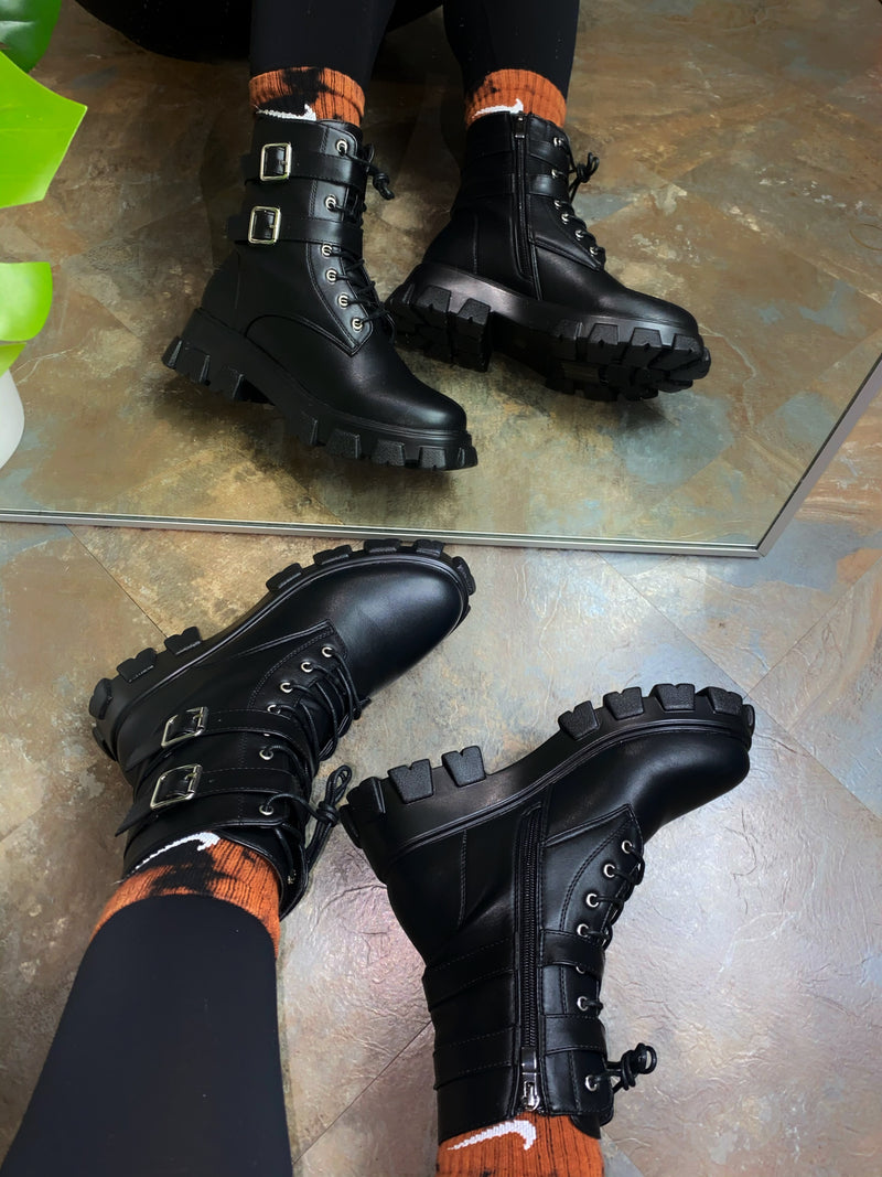 Pryce Combat Boot - Black Wet PU