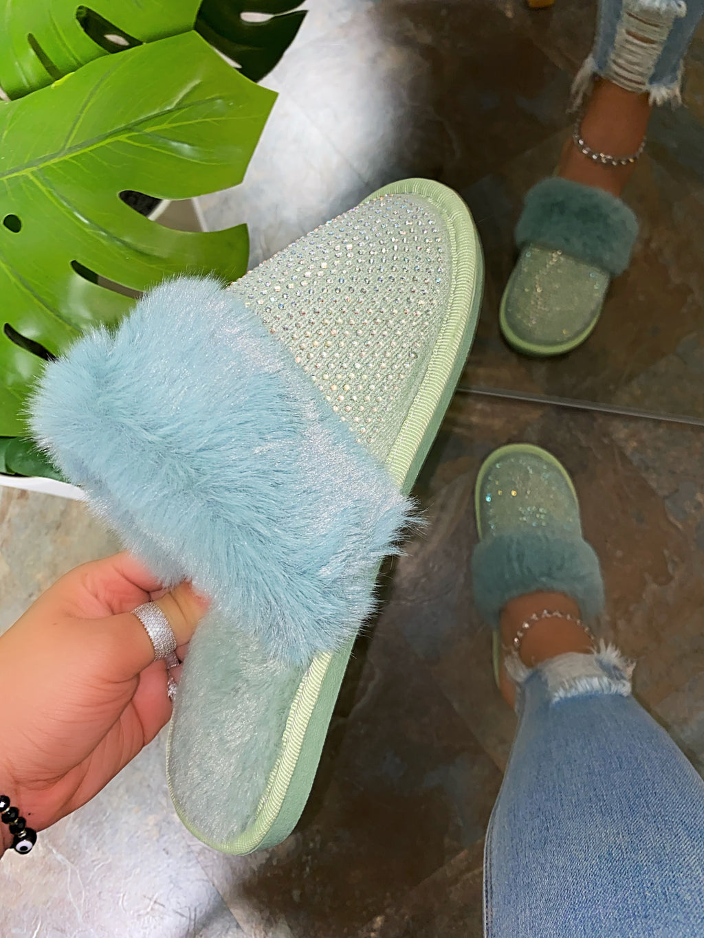 Baby Doll Slippers - Baby Teal