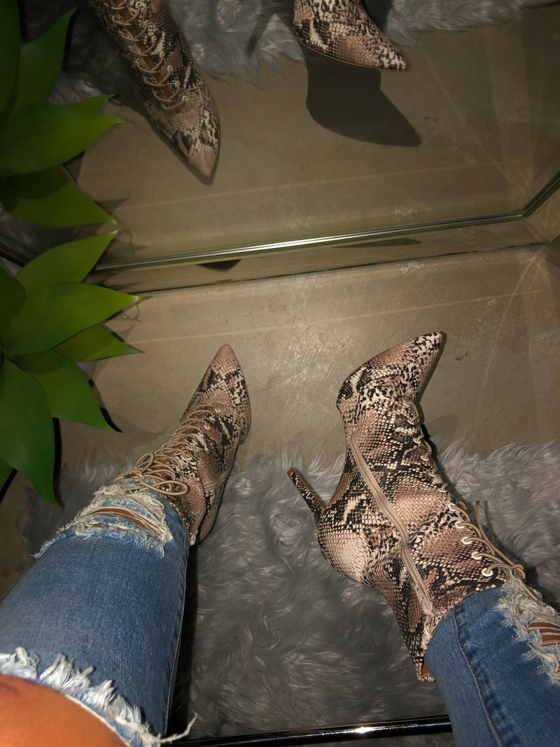 Dess Lace-up Booties - Snake
