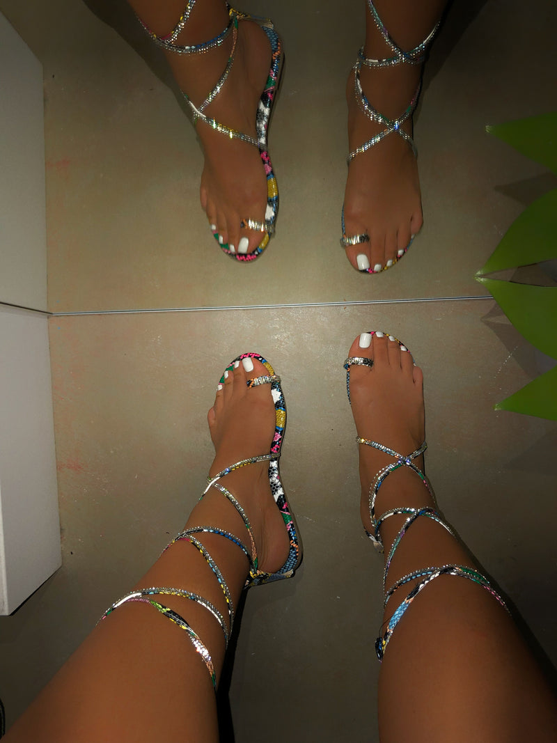 Nelly Rhinestone Lace-up Sandals - Multi Snake
