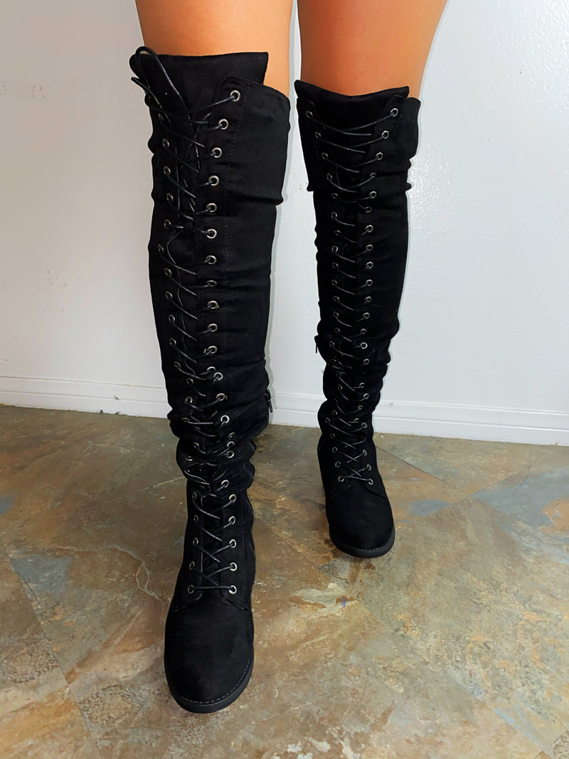 Taylor Lace Up Boots-Black