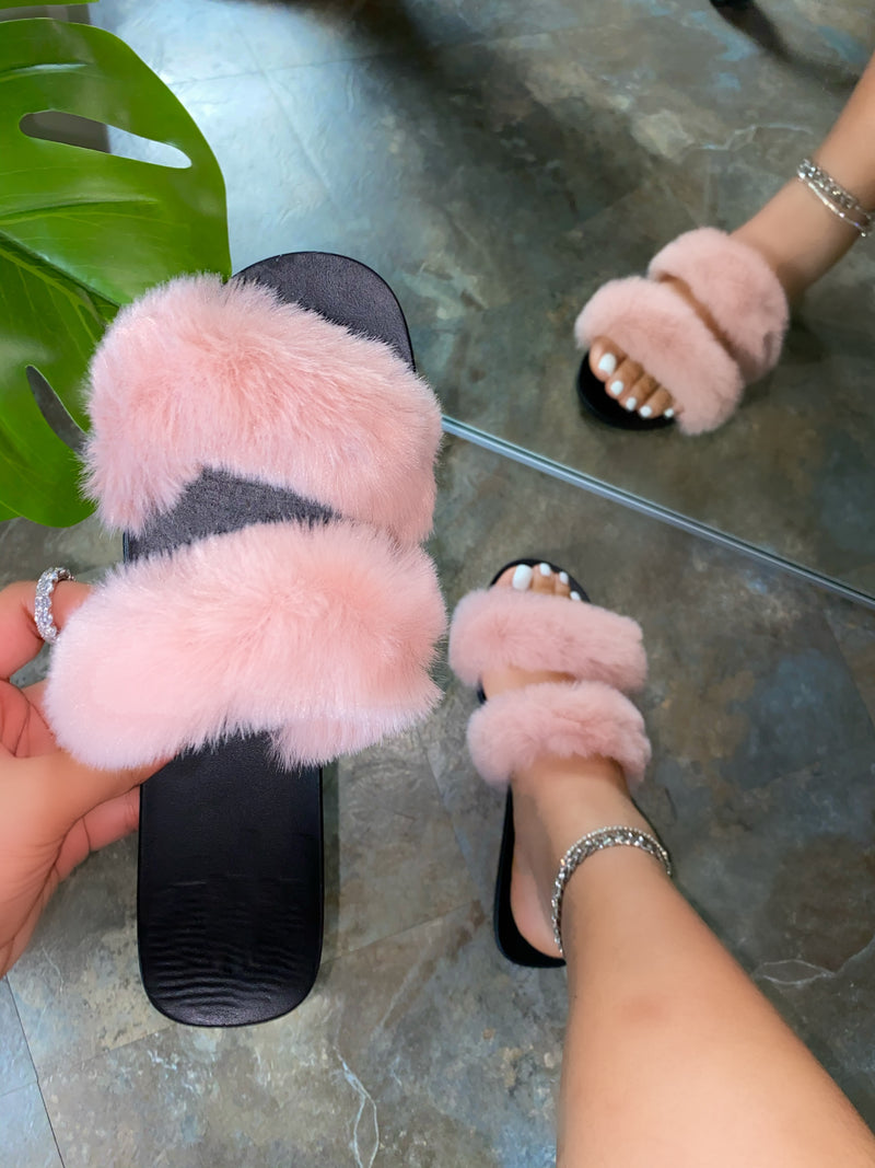 Lilenna Double Fluffy Slides - Blush