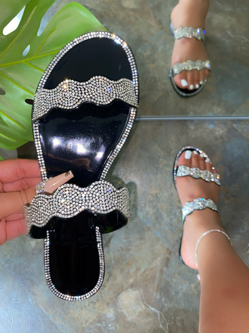 Bonita Rhinestone sandals - Black