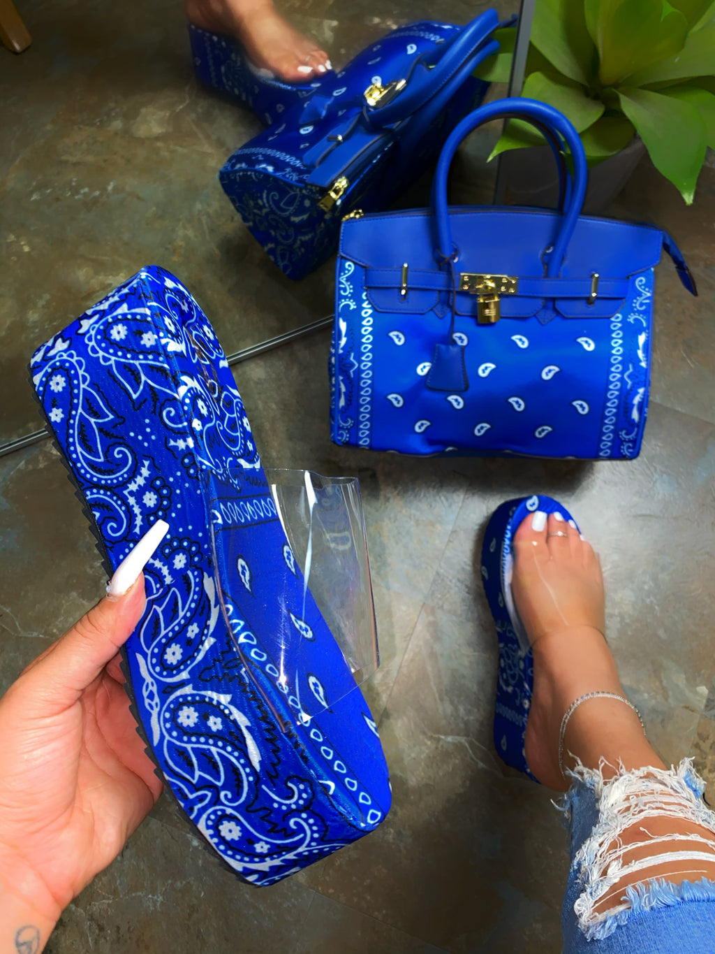 Hailey Platform Sandals- Blue Bandana