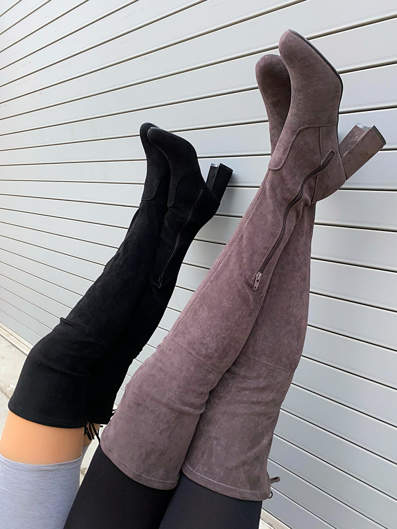 Kyle Thigh High Boots- Gray