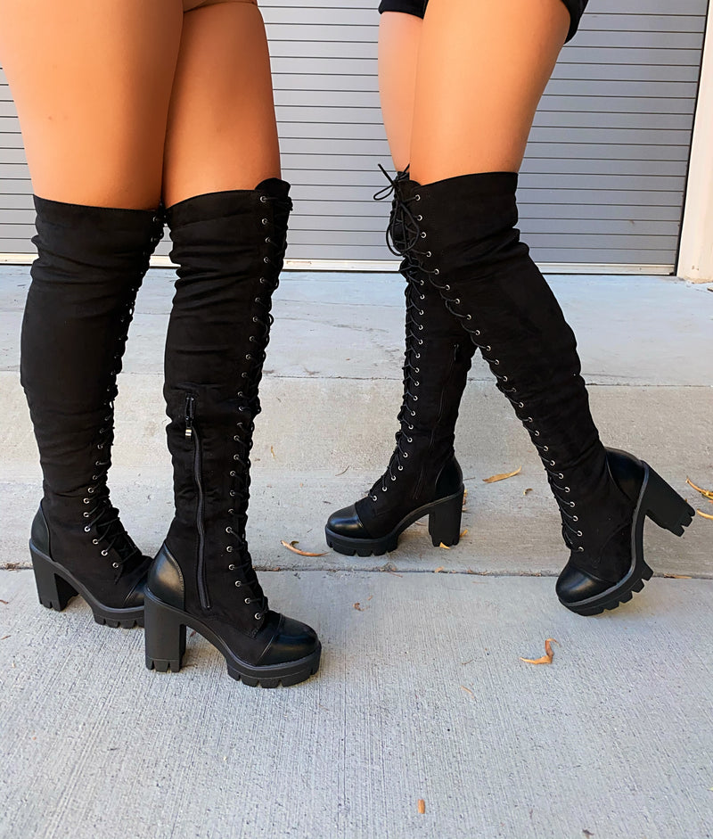 Kelsey Thigh High Boots- Black