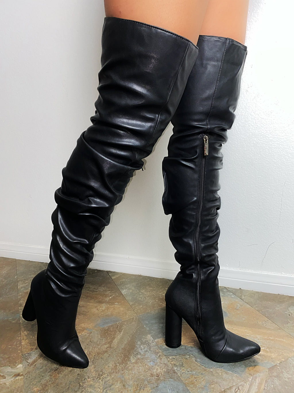 Beau Thigh High Boots-Black