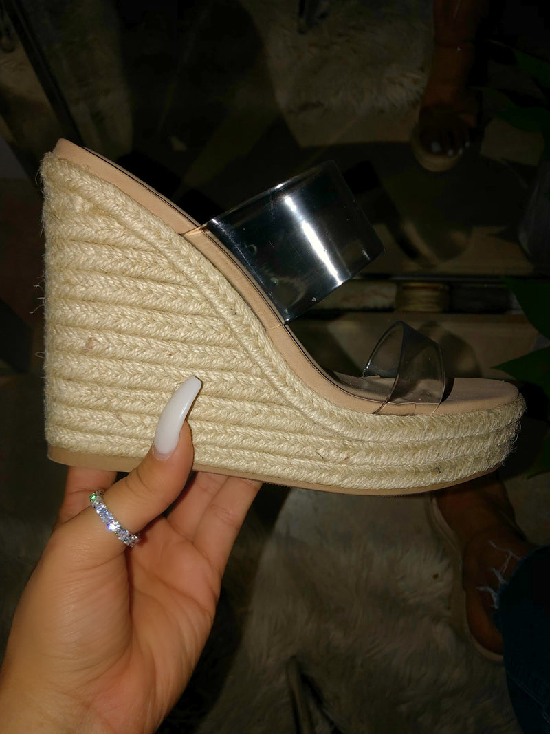 Serena Clear Strap Wedge