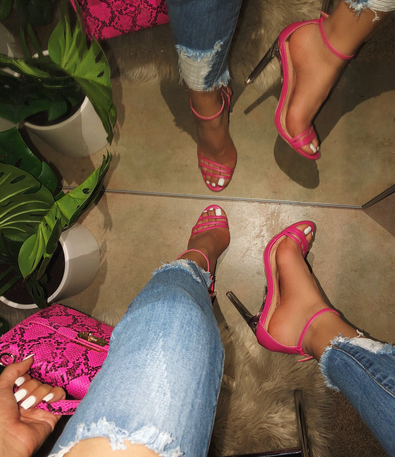 Darla Clear Heels - Hot Pink