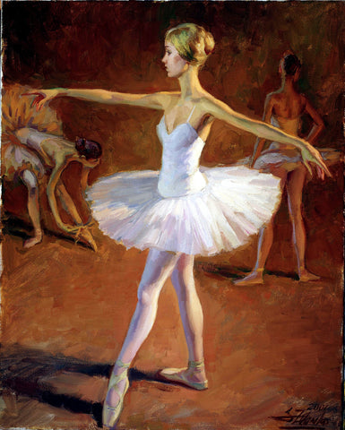 Ballerina In White TuTu - Green Gallery