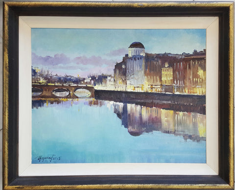 The Liffey With Four Courts - Green Gallery