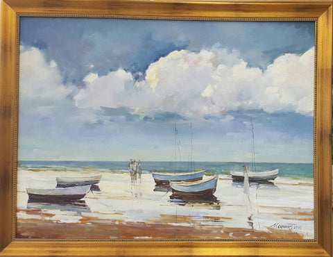 Boats on the Beach - Green Gallery