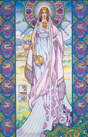 Bóann The Cow Goddess by Jim FitzPatrick - Green Gallery