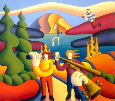 Dreamscape Mountain with Musicians - Green Gallery
