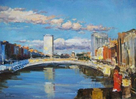 Ha'penny Bridge Summer by Tetyana Tsaryk - Green Gallery