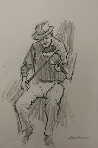 'Pat The Fiddler' by John Skelton(1924 Armagh-2009 Dublin)  - Green Gallery