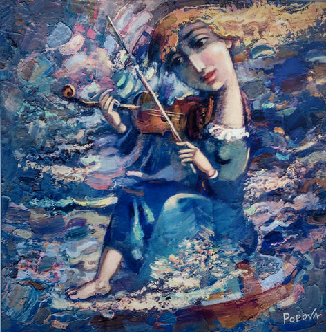 Violin And Blue Imagination by Oksana Popova - Green Gallery