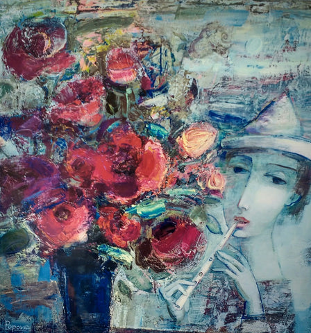 Blue Music And Flowers by Oksana Popova - Green Gallery