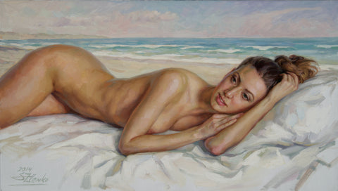 The Girl On The Beach - Green Gallery
