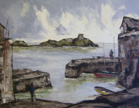 Coliemore Harbour with Dalkey Island - Green Gallery