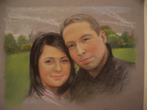 Couple Commissioned Portrait - Green Gallery