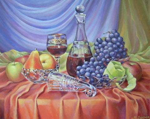 Decanter and Fruit - Green Gallery