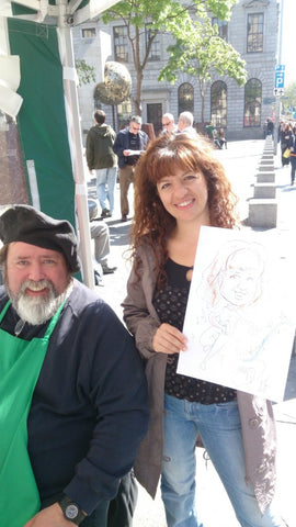 Bella is delighted with her caricature by Dan at 'Yourface Gazebo' on the corner of Dame Street and Fownes street in Dublin 2 from 10am to 6pm Thursdays through Sundays -weather permitting. - Green Gallery