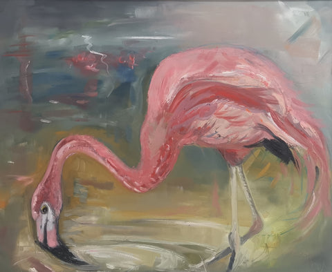 Thirsty Work. Pink Flamingo