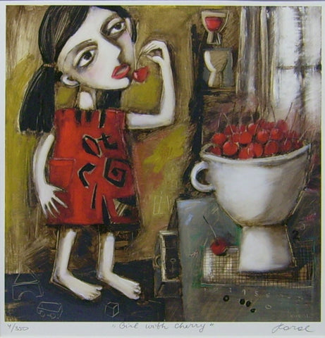 Girl And Cherries by Ludmila Korol - Green Gallery