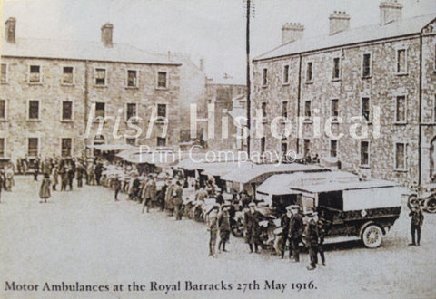 Motor Ambulances at the Royal Barrack's 27th May 1916 - Green Gallery