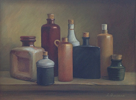 Ceramic and Glass Bottles by Angela Maximova - Green Gallery