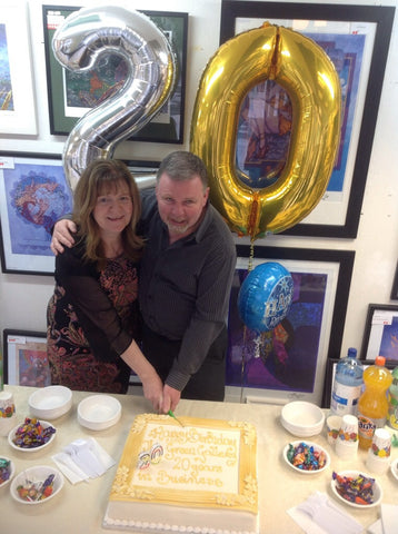 Dermot and Phyl cut the Cake - Green Gallery