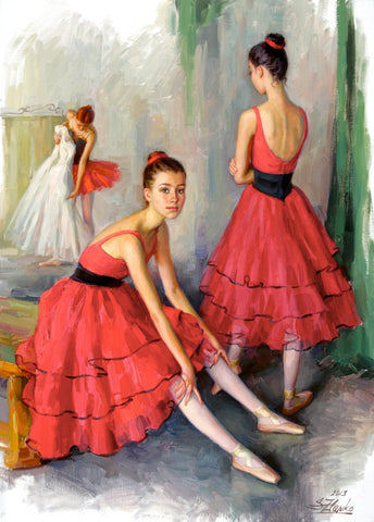 Dancers In Red - Green Gallery