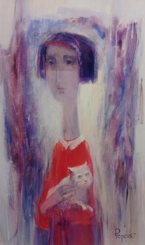 Girl With A Cat by Oksana Popova - Green Gallery