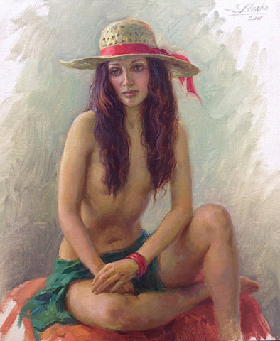 The Girl With The Straw Hat - Green Gallery