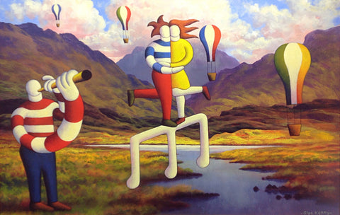 Connemara Landscape With Lovers, Musician And Baloons - Green Gallery